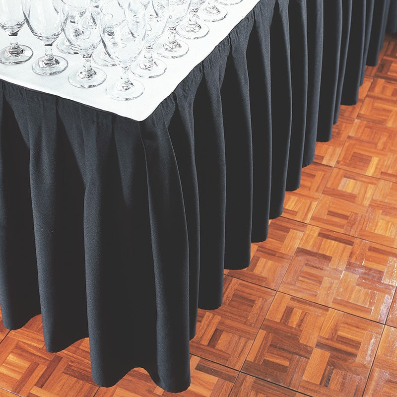 Banquet table skirting box pleated and shirred styles table skirting is often used for buffet tables at banquets its also used for tables at conferences trade shows and various other occasions where its watchthetrailerfo