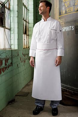 "Executive Chef Aprons 39""W x 38""L with Piping - NO POCKETS"